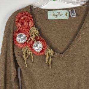 Anthropologie Glyn Mer Floral Applique Sweater M